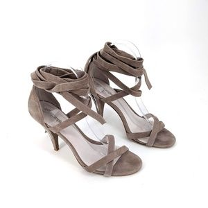 Jeffrey Campbell Taupe Strappy Ankle Wrap Heels